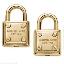 lock earrings 27 michael kors jewelry mk gold tone logo padlock stud