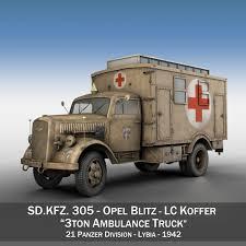 opel blitz ww2 opel blitz 3t ambulance truck 21 pzdiv 3d model army c4d 3ds