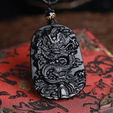 black jade necklace images Drop shipping carving chinese black a natural obsidian carved jpg