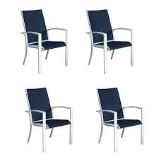 Stackable Patio Furniture Set - shop allen roth ocean park 4 count white aluminum stackable
