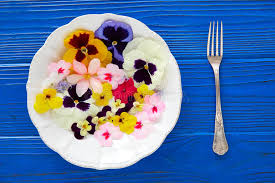 edible blue flowers edible flowers salad in a plate stock image image of culture
