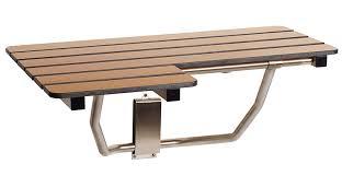 Teak Folding Shower Bench Grab Bar Specialists Seachrome 26in X 22 1 2in L Shape Folding