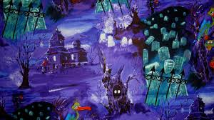 sale 1 yard haunted house and grave yard on purple halloween