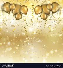 gold balloons gold balloons and confetti background 0305 vector image