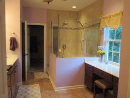 bathroom rectangle bathtub with steel rain head shower on brown