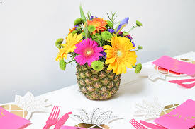 flowers arrangement diy tropical pineapple flower arrangement party pieces