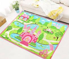 amazon com lelva cartoon castle girls bedroom rugs delicate