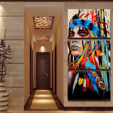 aliexpress com buy 5 panels canvas prints native american girl aliexpress com buy 5 panels canvas prints native american girl feathered women canvas painting poster home decor wall art for living room from reliable