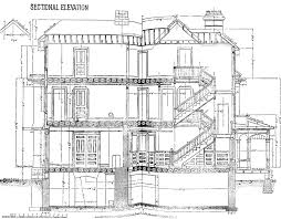 Blue Print Of A House Sectional Elevation Clipart Etc