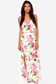 floral maxi dress beautiful ivory dress floral print dress maxi dress 49 00