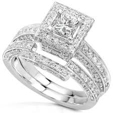 white gold wedding ring sets 1 1 4ctw princess diamond wedding rings set in 14kt