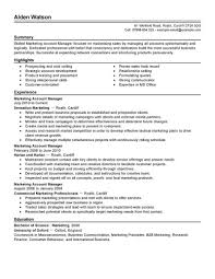 marketing manager resume exles best account manager resume exle livecareer