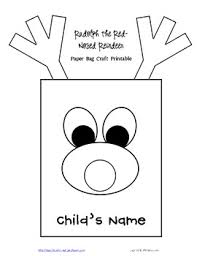 gift bag templates free printable free rudolph reindeer paper bag template and writing project tpt