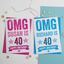 personalised omg 40th birthday card by a is for alphabet