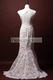 key back wedding dress trumpet cap sleeves key back princess waist appliqued lace