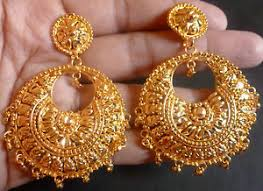 gold jhumka earrings 22k south indian bright gold plated bali jhumka earrings set