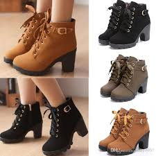 womens boots fashion footwear 2017 fashion lace up platform block high heel ankle boot