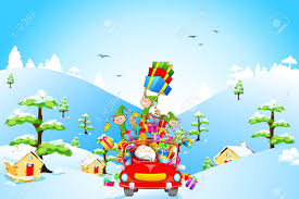 illustration of elf throwing christmas gifts from car with santa