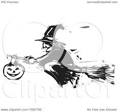 clipart black and white woodcut halloween witch flying on a
