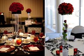 Table Wedding Decorations Wedding Decoration Ideas Red White And Black Table Centerpieces