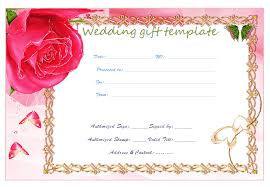 wedding gift gift card gold frame wedding gift certificate template beautiful printable