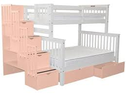2 Bunk Beds Bunk Beds White Pink Stairway And 2 Drawers 979