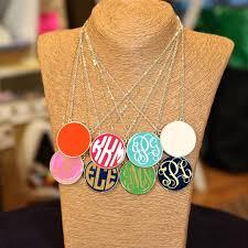 large monogram necklace necklace monogrammed large enamel fornash necklace jeannine s