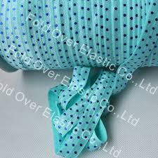 elastic ribbon wholesale 5 8 royal blue foil dots printed fold elastic 314 aqua