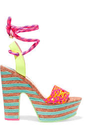 sophia webster jade neon leather and cork platform sandals lyst