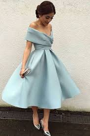 light blue chiffon off shoulder a line knee length dress formal