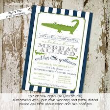 alligator baby shower baby boy shower invitation navy green stripe