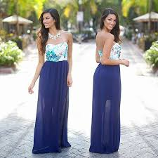navy maxi dress with floral top