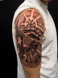 aztec world grey ink tattoos on half sleeve tattooshunter com