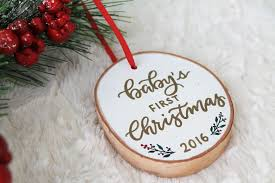 baby u0027s first christmas birch wood ornament letter u0026 adore