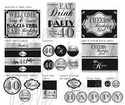 Invitation Cards For 40th Birthday Party 40th Birthday Pdf Printable Party Pack 40 00 Via Etsy 40