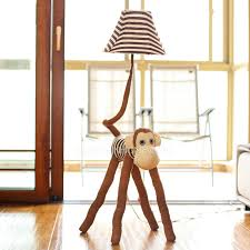 brown color fabric soft kids floor lamps with one light