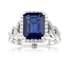 sapphire emerald cut engagement rings sapphire emerald cut halo ring in 18k white gold