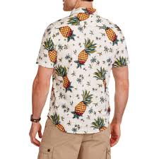 Halloween Hawaiian Shirt by Straight Faded Men U0027s Short Sleeve Woven Pineapple Print Hawaiian