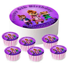 alvin and the chipmunks cake toppers personalised alvin and the chipmunks chipettes 7 5 6 x 2