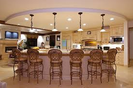Curved Kitchen Island Wide Round Dropped Ceiling With White Lighting Also Deocrative