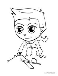 skiing kid coloring pages hellokids com