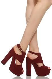 Plum High Heels Plum Faux Suede Sling Back Chunky Platform Heels Cicihot Heel