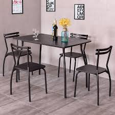 Dining Set With 4 Chairs Costway 5 Dining Set Table And 4 Chairs Home Kitchen Room