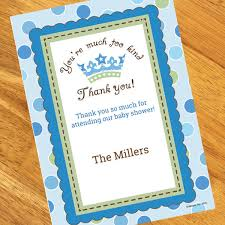 baby shower notes baby prince baby shower personalized thank you notes