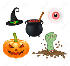 halloween cartoon set symbols collection set of objects