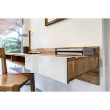 White Painted Oak Furniture Minimalist Lacquered Oak Wood Floating Study Desk Which Attached