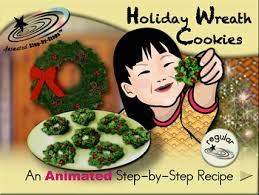 holiday wreath cookies animated step by step recipe by bloom tpt