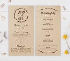 country wedding programs rustic wedding programs sunflower wedding