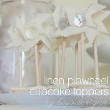 kojotutorial linen pinwheel cupcake toppers