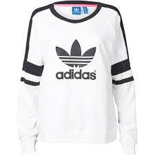 white adidas logo sweatshirt for women on the hunt
